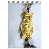 专业供应金属喷漆金宝佛黑石珠链装饰品 创意财源广进汽车挂件