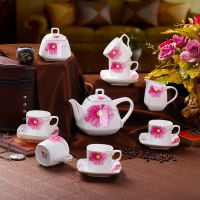 景德镇方形15头咖啡具套装 高档骨瓷咖啡杯碟壶套装 特色咖啡具