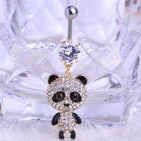 爱莲饰品时尚脐环  韩版女高档镶钻国宝熊猫脐环  防过敏百搭脐环
