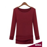 新款 欧美风 时尚修身显瘦圆领长袖T恤针织衫 打底衫