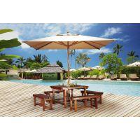 广州阳光YG-T908特价高档庭院花园别墅带伞全木制长桌椅美式户外柚木餐桌椅