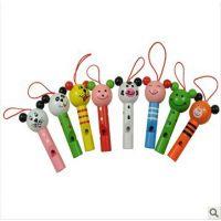 【2014新款】木制玩具原厂直销动物头口哨玩具益智玩具音乐玩具