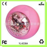 圆球体塑料钟 创意台钟 广告塑料钟 小闹钟 迷你儿童桌面钟