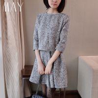 韩版秋冬新款女装长袖宽松大码打底显瘦千鸟格毛呢连衣裙