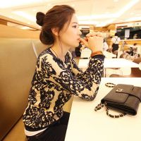 9987#外套秋装韩版修身女款打底衫 青花瓷针织衫开衫
