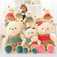 实体店批发穿衣裙子泰迪熊毛绒玩具 情侣熊娃娃 一件代发