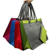 YH-B010004毛毡时尚休闲配色拼色大包购物袋