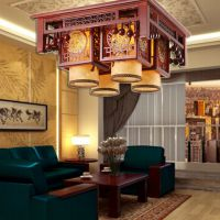 供应古清现代中式吸顶灯吊灯仿古实木客厅餐厅卧室灯古典羊皮灯具8138