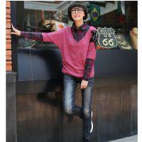 2014女士t?秋冬新款套头 韩版修身时尚拼色女装长袖打底衫代理