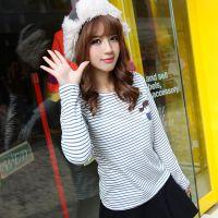 秋冬装新款韩版条纹打底衫长袖圆领学生T恤女装