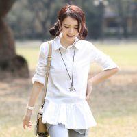 2014春装新款韩版衬衣女中长款长袖打底衫女上衣 免费加盟代发货
