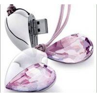 厂家直销 水晶珠宝U盘 紫色心形水晶U盘 金六福珠宝店促销礼品