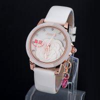 新款时空亮皮手表 镶钻牡丹花女性手表 电镀吊环红水晶休闲表