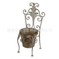 欧式仿古铁艺花架 椅子花盆架落地式绿萝吊蓝花架子园艺家居摆设