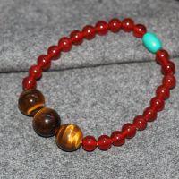 正品天然红玛瑙手链配黄虎眼石绿松石手串女 本命年必备 养生水晶