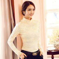 2014 韩版女装秋冬新款加绒加厚半高领蕾丝长袖打底衫女
