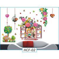 立体3D墙贴透明PVC客厅家装饰背景情侣窗户盆花猫厂家直销