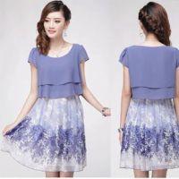 特价批发韩版时尚大码高雅紫色显瘦  欧美碎花修身连衣裙