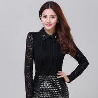 2104秋装新款韩版修身娃娃领长袖泡泡袖褶皱镂空蕾丝打底衫