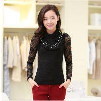 2014秋装新款韩版气质大码修身显瘦立领长袖蕾丝打底衫