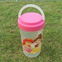 新款迪士尼卡通芭比公主图案300ML可提水杯儿童杯子现货批发