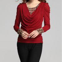 2014秋季新款韩版显瘦假两件遮肚腩豹纹网纱长袖打底衫