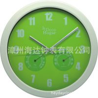 正品 多功能温湿度计钟 气象挂钟 自动校时 分秒不差 高端礼品钟