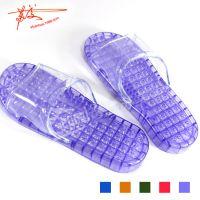 批发时尚防滑沥水浴室拖鞋 家居塑料凉拖带按摩珠大中小5色可选