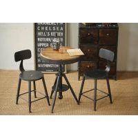 美式乡村做旧圆桌铁艺咖啡桌椅复古实木可升降茶几休闲桌椅套件