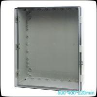 600*400*220带中门搭扣防水箱 透明盖防水箱 咖啡盖户外防水箱