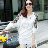 2014秋装新款长袖T恤 蝙蝠袖豹纹拼接宽松大码女装打底衫