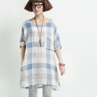 【城市新文艺】系列 例外清新文艺大格子麻料衬衫连衣裙 1406