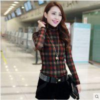 2014韩版秋冬装新款加厚加绒堆堆领格子修身网纱金丝绒打底衫