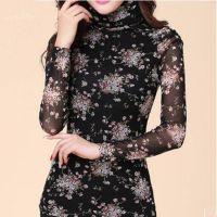 2014新款韩版女装加绒加厚高领网纱打底衫蕾丝长袖T恤