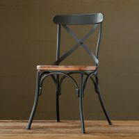 厂家直销办公单人电脑椅不带扶手 金属铁艺实木椅子餐椅整装