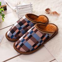 2014新款男女式家居室内地板拖鞋保暖棉拖鞋批发 韩版格子棉拖