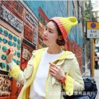 出口韩国时尚糖果荧光拼色高尖帽针织毛线帽子女原宿风潮秋冬