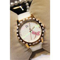 速卖通爆款时尚复古花纹表盘女士手表 休闲款手表批发  代理