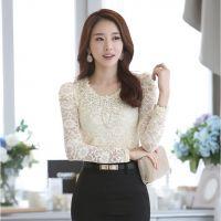 2014秋装新款 韩版女装修身蕾丝打底衫百搭蕾丝衫