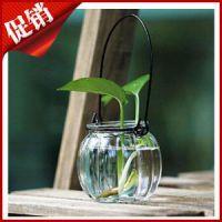 批发迷你垂吊花瓶小吊瓶 简约玻璃南瓜吊瓶 带铁丝挂钩 水培容器