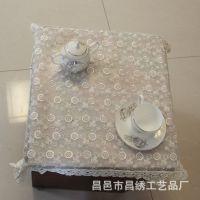 新货家居软饰供应 抽纱电脑刺绣桌布台布绣品 水溶玻璃纱