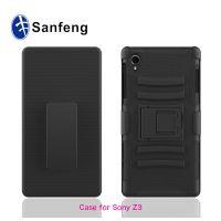 工厂供货 索尼z3硅胶变色手机壳 全黑色pc三合一背夹滑套手机壳