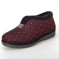冬季新款老北京布鞋 柔软防滑保暖鞋 高帮魔术贴中老年加厚棉鞋
