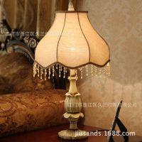 欧式卧室客厅书房床头别墅酒店客房高档复古树脂调光台灯