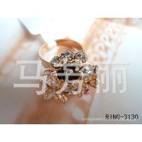 新款供应现货日韩饰品戒指 四叶花花束 镶钻戒环 合金戒指指环