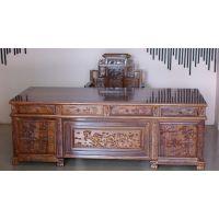 名琢世家传统生漆工艺刺猬紫檀红木办公家具学习桌椅