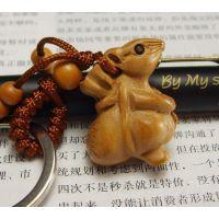 天然桃木饰品 包挂件 钥匙扣 送财鼠 发财鼠 精灵鼠
