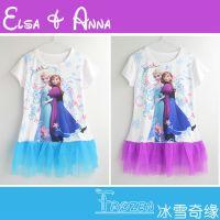 【散码】外贸爆款冰雪奇缘童裙Elsa Anna女童连衣裙 长款T恤裙