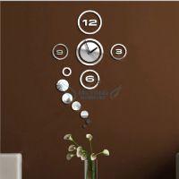 厂家直销 热销速卖通 家居装饰挂钟 镜面客厅卧室装饰钟 3D墙贴钟