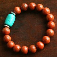 批发天然鸡肝红石手链 搭配绿松石 女款手链 精选藏红石玛瑙